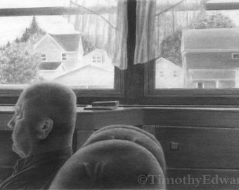 In the Afternoon, original charcoal drawing
