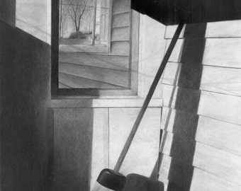 Side Porch, original charcoal drawing