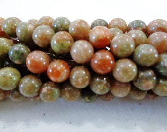 Unakite beads 6mm round beads
