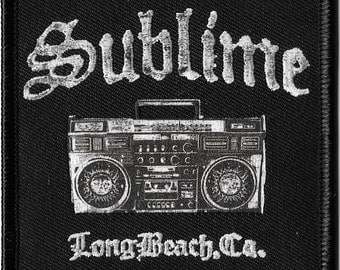 Sublime Boombox Embroidered Patch, Iron On Applique, Ska, Punk, Reggae, California Rock Band, So Cal