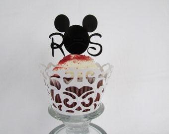 2 Initial Disney Inspired Monogram Cupcake Toppers