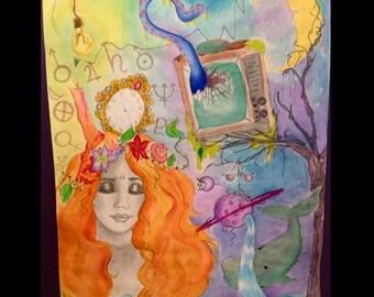 """Venus de Chaos 18""""X24""""watercolor and prisma"""