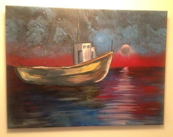 "Original sea scape painting ""Red Sea"""
