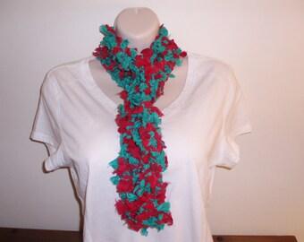 Colorful Handknit Repurposed Vintage Silk Scarf