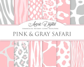 Pink Animal Prints Digital Paper Scrapbook Backgrounds Wild Animal Skin, pink and gray Safari textures. Clipart leopard zebra snake tiger