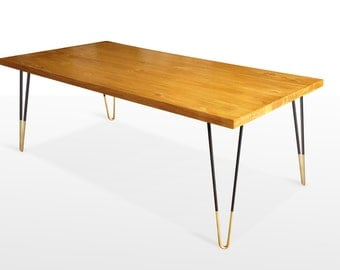 Mid Century Modern Coffee Table, Mid Century Modern Furniture, Gold Hairpin Legs, Reclaimed Wood table