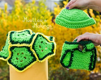 Beautifully crocheted turtle costume for newborn photography. Includes shell, hat, and diaper cover.
