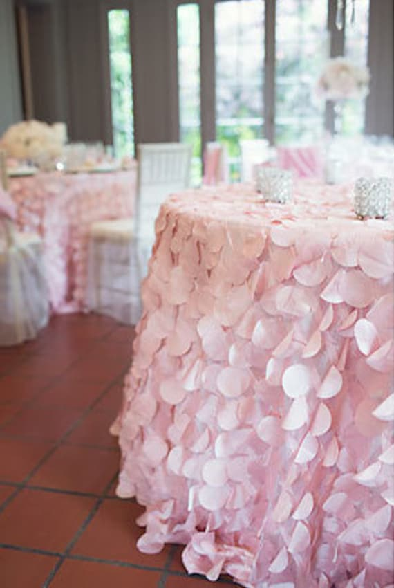 Blush Pink Petal Tablecloth Blush Pink Circle Petal Linen