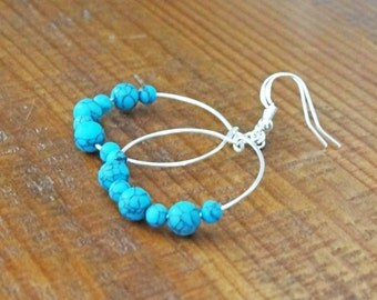 Silver hoop earrings.Sterling silver earrings.Wire wrapped jewelry.Drop hoop earrings.Beaded earrings.Silver Turquois earrings.