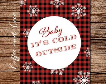 8x10 Christmas Plaid Print, Baby It's Cold Outside, Christmas Decor, Holiday Art, Christmas Poster, Christmas Printable, coffeeandcoco