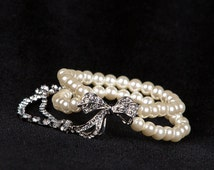 Champagne Pearl Bracelet Twisted Clusters on Silver Chain - Wedding, Bridal, Birthday Gift Accessory Swarovski Pearls B5
