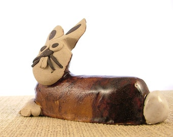 Stoneware Brown Bunny Rabbit Ornament - Bunny Sculpture - Clay Animals - Bunny Gifts