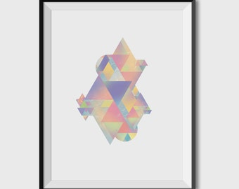 POSTER A4 VINTAGE, origami, geometry, triangle, retro, creating graphics, design, colours, mosaic,