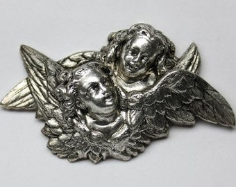 1pcs--Angels love, Metal Stampings, Antique Silver, 34x59mm (B10-17)