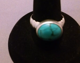 Sterling Silver Carved Ring with Chinese Turquoise