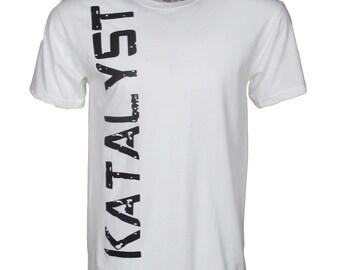 """Katalyst """"Guilt"""" Men's White short sleeve crew neck graphic t-shirt"""