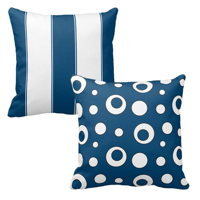 Decorative Pillows In Navy Blue : Navy Blue Pillows Decorative Throw Pillow by DesignbyJuliaBars