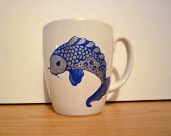 Hand painted Koi coffee mug in blue and silver