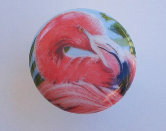 Flamingo Bay Tropical Decorative Ceramic Cabinet Knob Drawer Pull