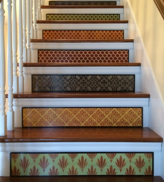 Carved Wood Stair Risers Stair Ideas Stamped Leather: Moroccan 'Scales' Stair Riser / Alternative To Stair