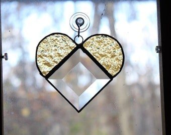 Handmade Stained Glass Bevel Heart Suncatcher - Yellow