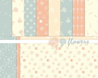 Flower Digital Paper+Bouquet Clipart-Pink,Coral,Blue-Handdrawn Floral Paper-Spring Flower Patterns-Floral Background-BUY 1 GET 1 FREE