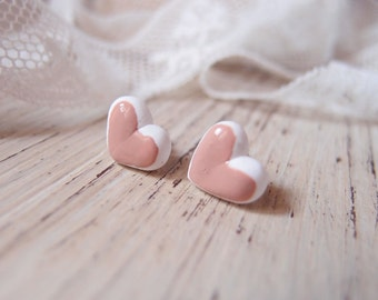 Heart Earrings glazed earring with heart, ceramic heart, bridal jewelry, pink face powder earrings, bridesmaid gift, mother Gift