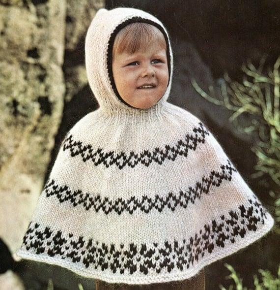 Knitting Pattern Child s Hooded Cape : Vintage Childs Diamond Poncho Cape With Hood Knitting Pattern