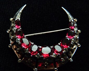 Discounted Again - Sterling Ruby Red Trifari Crescent Brooch.