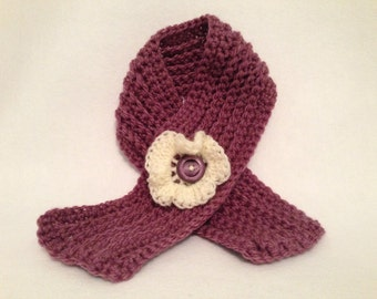 Handmade Crochet Neckwarmer Scarf with Flower Detail