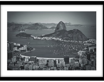 Sugar Loaf Mountain, Rio De Janeiro -  Black and White Fine Art Photograph printed on 308gsm Hahnemuhle fine art paper (Unmatted)