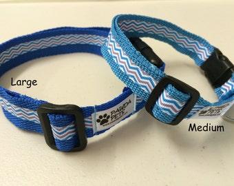 Chevron blue Dog collar