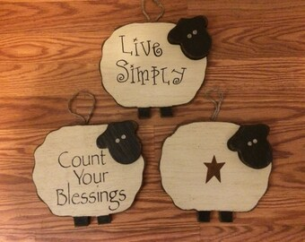 Primitive Wood Sheep Wall Sign Decor