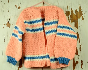 Handmade Knit Pink Girls Sweater, Girls Knit Sweater Jacket, Vintage Knit Jacket, Baby Sweaters, Vintage Baby, Pink Toddler Sweater