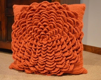 Crochet Flower Pillow Cover 16 x 16 inches with Button Closure
