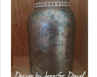 Mason Jar Decor; Mason Jar Gifts; Mason Jar; Mason Jar painted, Silver Mason Jar, Blue Mason Jar