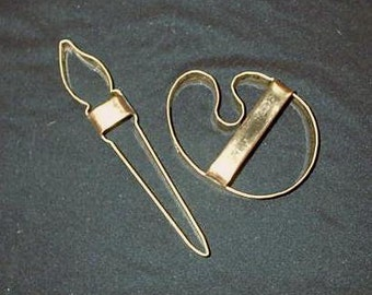 Copper Cookie Cutter Paint Brush and Palette Set By Ron Yurcak