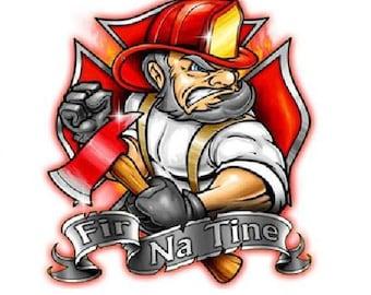 Fireman T-shirt Irish Firefighter Gaelic Fir Na Tine 100% Cotton  S-XXXL