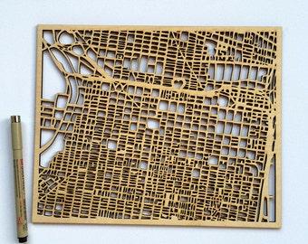 Custom Woodcut Philly Map