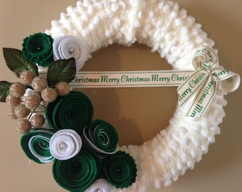 Forever green with snowflakes .. Handmade felt wreath in a classic Christmas colours