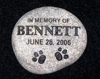 """Pet memorial stone custom engraved granite river rock 7"""""""