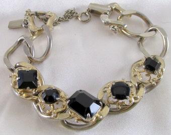 Reinad Chunky Style Vintage Bracelet With Onyx Stones