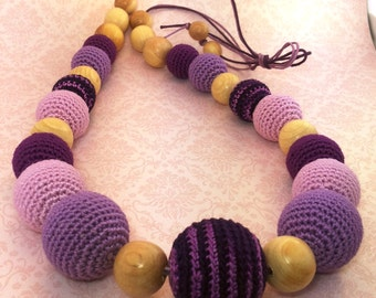 "Nursing Necklace ""Purple sunrise"", Teether for babies"