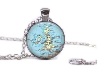 United Kingdom Map Pendant Map Necklace Map Jewelry
