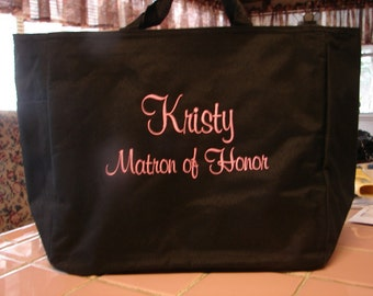 4 Personalized Tote Bag Monogram Bridesmaid Gift Wedding name and title SHOWER Personalized Embroidered