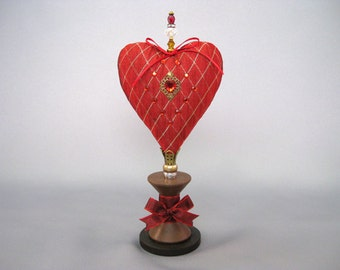 Heart Pincushion with Red and Gold Diamonds