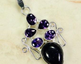 Goldstone 925 Sterling Silver Overlay Pendant 55mm - gems gemstones gemstone jewelry jewellery