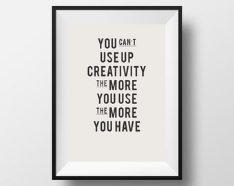 Creativity quote, typography, motivational quote,  instant download, digital art, printable, be creative, work hard, office art