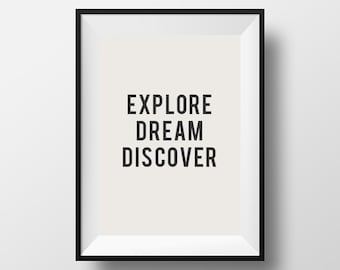 Explore, dream discover, mark twain quote, inspirational quote, motivational quote, quote, poster, instant download, wall decor