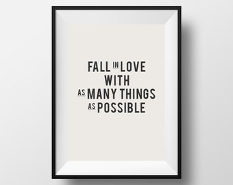 Fall in love, Typography, typographic art, digital download, Dream quote, Art, Print, typographic print, quote, love quote, motivational art